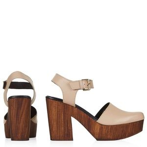 Topshop Two-Part Clog Platform in Nude